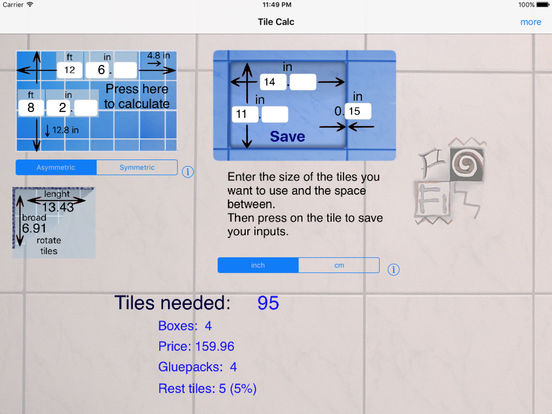 Tile Calc iPad Screenshot 1