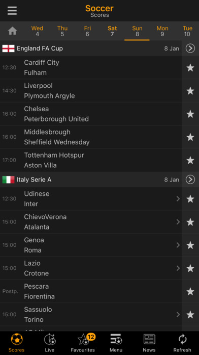 LiveScore iPhone Screenshot 1