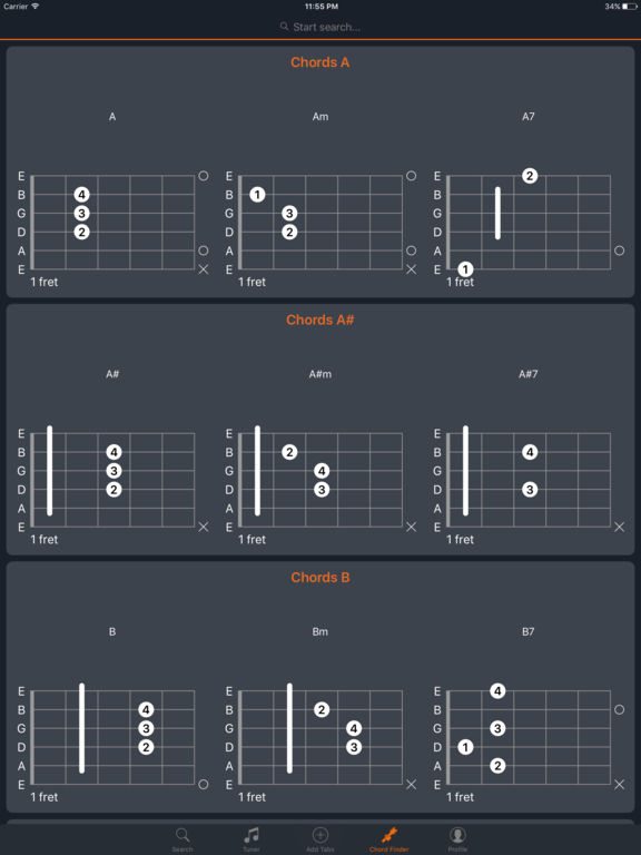 Acoustics - Guitar Tabs, Chords and Tuner Screenshots