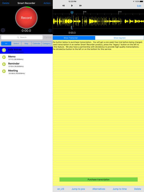 Smart Recorder and Transcriber Gray Screenshots