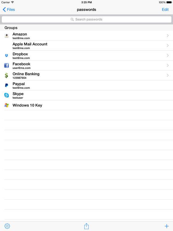KeePass Touch Screenshot