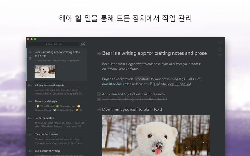Bear - 아름다운 메모 작성 및 편집 앱 앱스토어 스크린샷