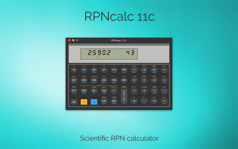 RPNcalc 11c - Scientific RPN calculator for Mac