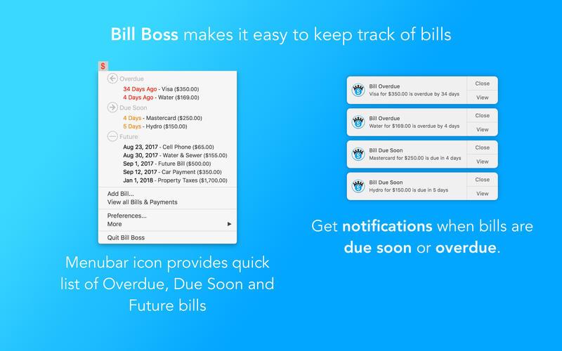 Bill Boss - Keep track of bills + notifications for Mac