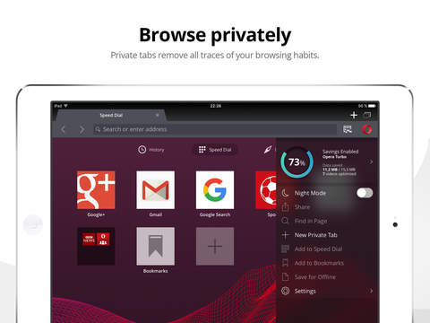 Screenshots of Opera Mini for iPad