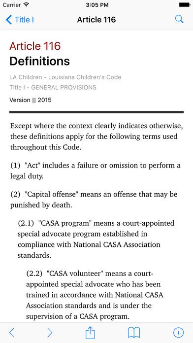 Louisiana Children's Code (LA Laws) iPhone Screenshot 2