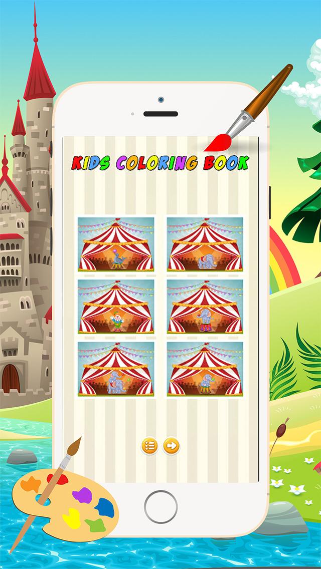Мультфильм Цирк Книжка-раскраска - Все в 1 животных рисунок и живопись Красочный для детей игры бесплатно Скриншоты5
