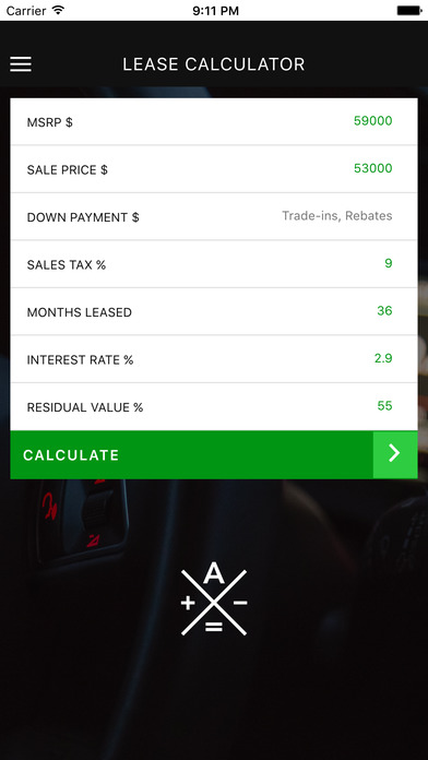 Auto Lease Calculator iPhone Screenshot 1