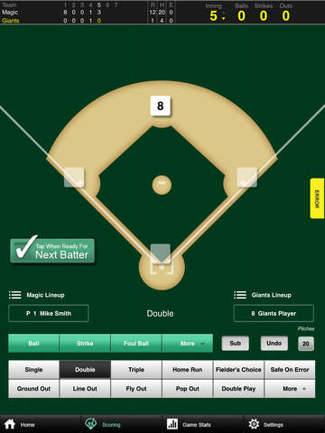 Go! Team Go! Baseball Scorecard screenshot 1
