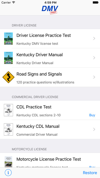 DMV Test Prep - Kentucky iPhone Screenshot 1