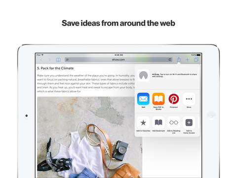 Screenshots of Pinterest for iPad