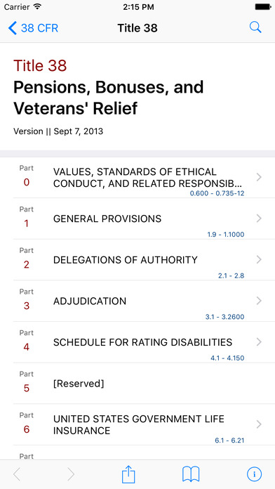 Title 38 Code of Federal Regulations - Pensions, Bonuses, and Veterans' Relief iPhone Screenshot 1