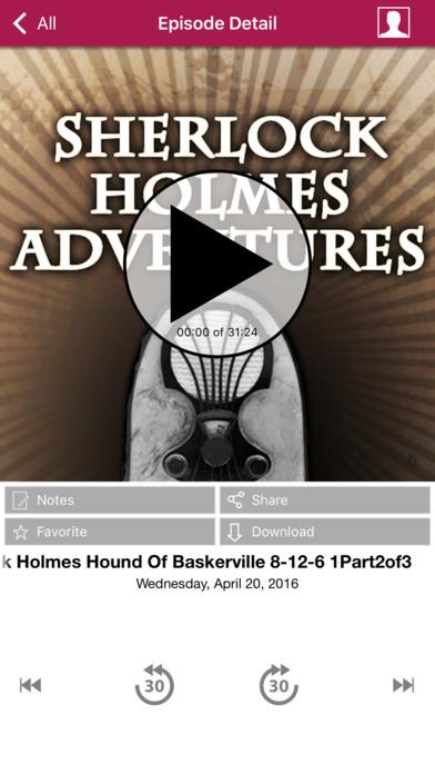 Sherlock Holmes Adventures - Old Time Radio App iPhone Screenshot 3