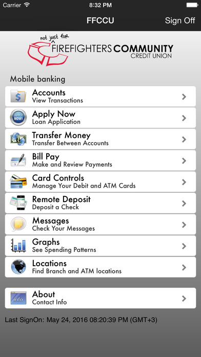 Firefighters Community Credit Union Mobile Banking iPhone Screenshot 2