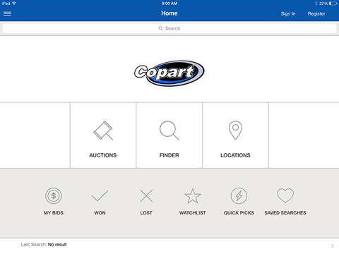 Copart Mobile iPad Screenshot 1