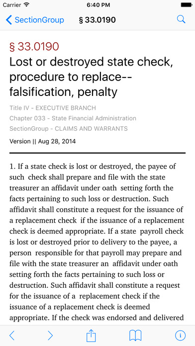 Missouri Revised Statutes (MO Law) iPhone Screenshot 2