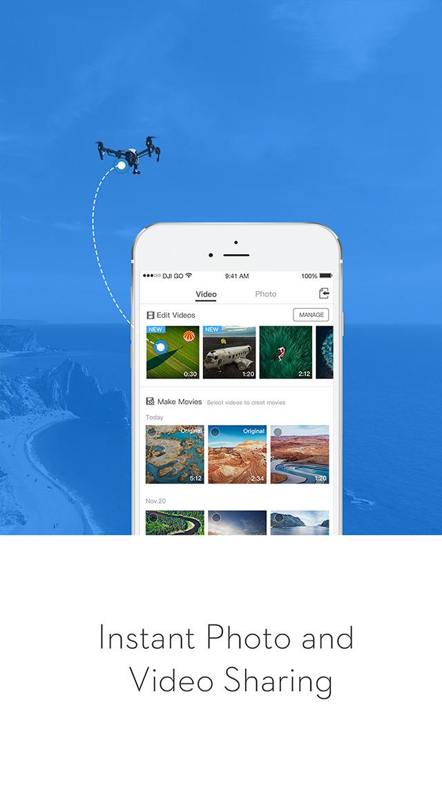 Screenshots of DJI GO for iPhone