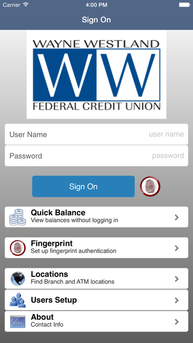 Wayne Westland FCU Mobile Banking iPhone Screenshot 1