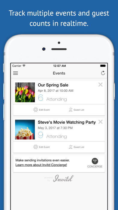 Invitd - Invitations & RSVP Tracking for Events by Text Message screenshot