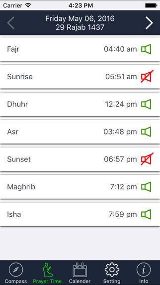 Qibla Compass & Prayer Times PRO - (Salat Times, Islamic Compass - Ramadan 2016) Screenshots