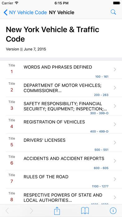 New York Vehicle and Traffic Code (NY Law) iPhone Screenshot 1