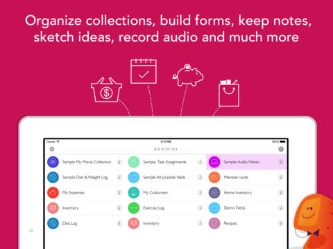 Boximize: Structured note taking, personal database, form builder, manager and organizer! Screenshot