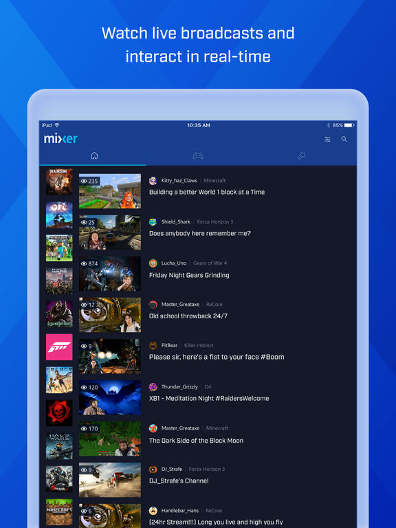Screenshots of Mixer – Interactive Live Streaming for iPad