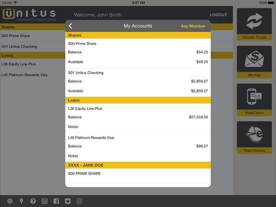 Unitus Community Credit Union Mobile iPad Screenshot 4