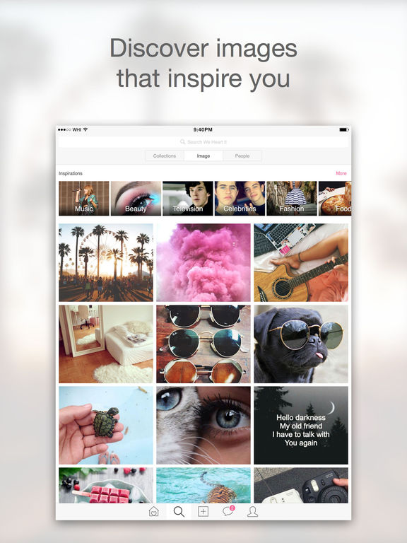 Screenshots of We Heart It for iPad