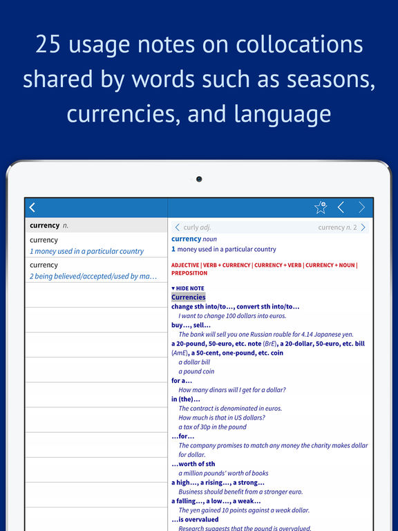 Oxford Collocations Dictionary for Students of English Screenshots