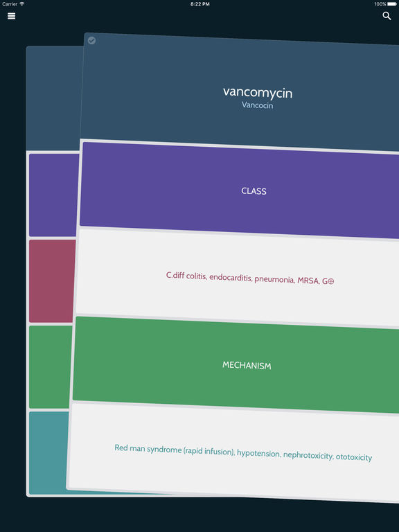 PharmDeck : Simple drug flash cards - class, mechanism, uses, side effects Screenshots