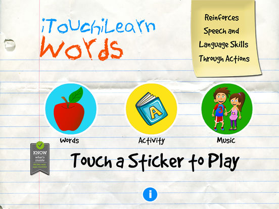 iTouchiLearn Words for Preschool Kids Letters, Spelling & Puzzles iPad Screenshot 1