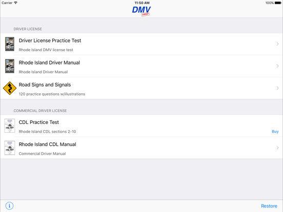 DMV Test Prep - Rhode Island iPad Screenshot 1