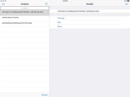 Message Templates iPad Screenshot 1