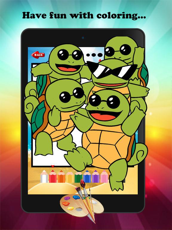 Черепаха мультфильм Краска и раскраска Обучение Мастерство - Забавные игры бесплатно для детей Скриншоты8