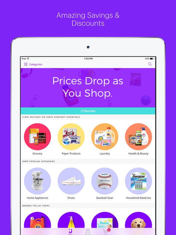 app shopper jet online shopping app for discounts on grocery items furniture home goods. Black Bedroom Furniture Sets. Home Design Ideas