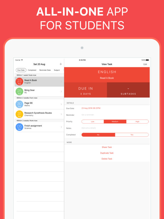 The Homework App - Your Class Assignment & Timetable Schedule Planner screenshot