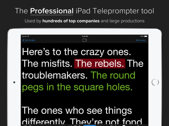 Teleprompter Premium - Speech, Script and Lyrics Mirror Prompter Pro screenshot