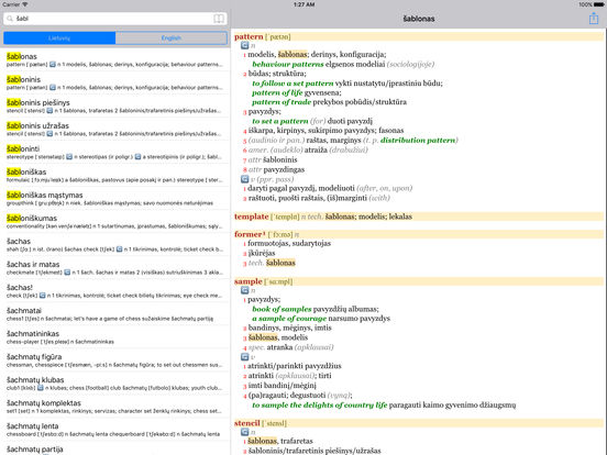 Anglonas - the English-Lithuanian dictionary iPad Screenshot 1