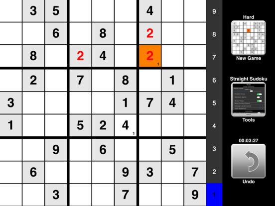 Straight Sudoku iPad Screenshot 1