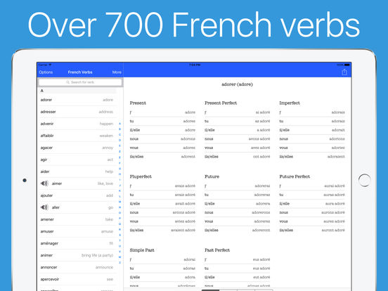French verb conjugator audio for top verbs on the app store for Porte french conjugation