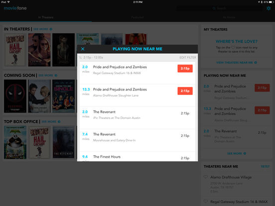 Moviefone - Movies, Theaters, Showtimes and News from Hollywood iPad Screenshot 3