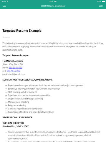 resume writing resume examples cover letters iphone ipad ios