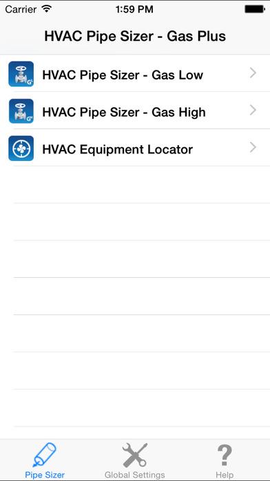 HVAC Pipe Sizer - Gas Plus iPhone Screenshot 1