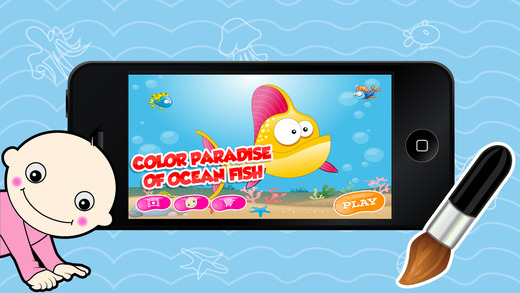 Color Paradise of Ocean Fish - Learn Free Amazing HD Paint Educational Coloring Activities for Toddl