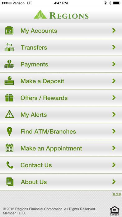Regions Mobile iPhone Screenshot 1