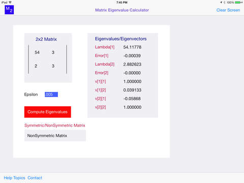 Matrix Eigenvalue Calculator