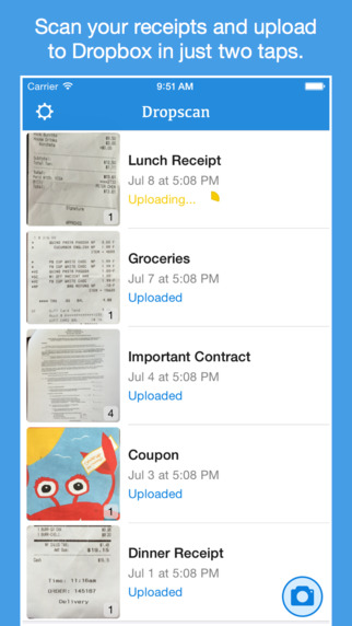 Dropscan - Scan paper and upload to Dropbox in just two taps