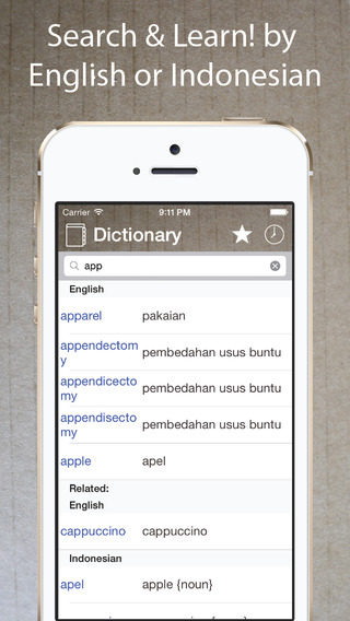 Indonesian English Dictionary - Kamus Inggris Indonesia -Learn・Translate・Travel - free offline iphon