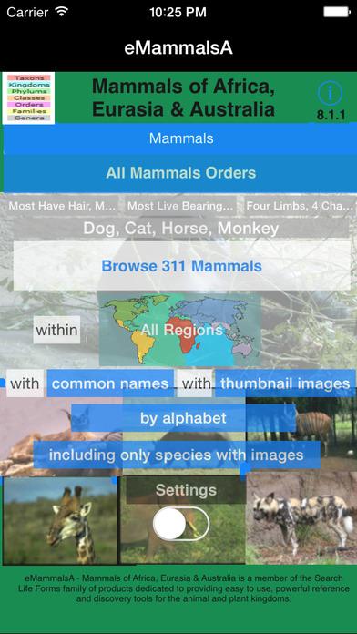 Mammals of Africa - eMammalsA iPhone Screenshot 1